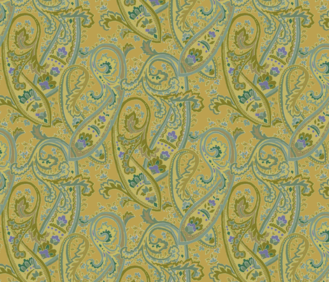 Golden_Sand_Paisley fabric by kelly_a on Spoonflower - custom fabric