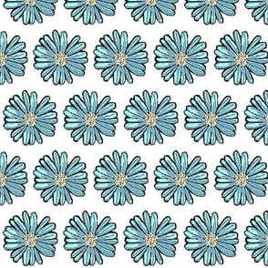 Painted blue daisy 01