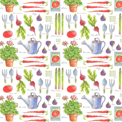Garden Sketchbook 'Mini' fabric by pattyryboltdesigns on Spoonflower - custom fabric
