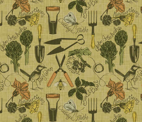 My rustic garden fabric by cjldesigns on Spoonflower - custom fabric