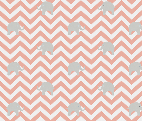 Baby Elephants in Coral fabric by sparrowsong on Spoonflower - custom fabric
