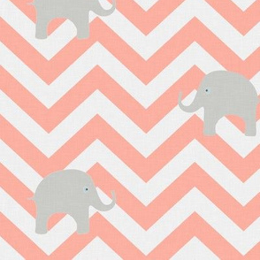 Baby Elephants in Light Coral