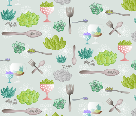 Spoons_And_Forks_For_My_Succulent_Garden fabric by mrshervi on Spoonflower - custom fabric