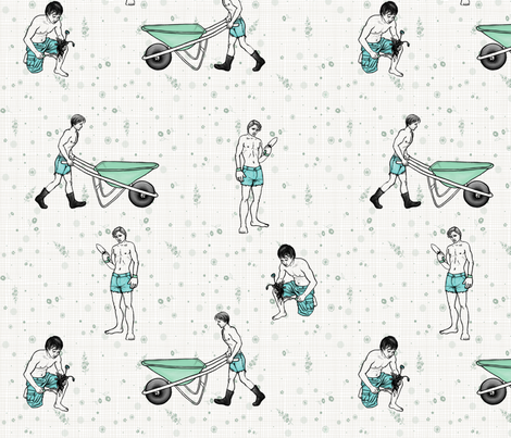my favorite gardening tools fabric by glindabunny on Spoonflower - custom fabric