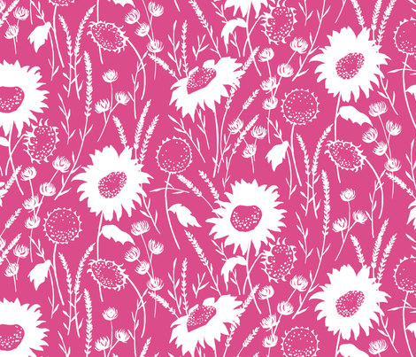 wildflowers - pink fabric by jillbyers on Spoonflower - custom fabric