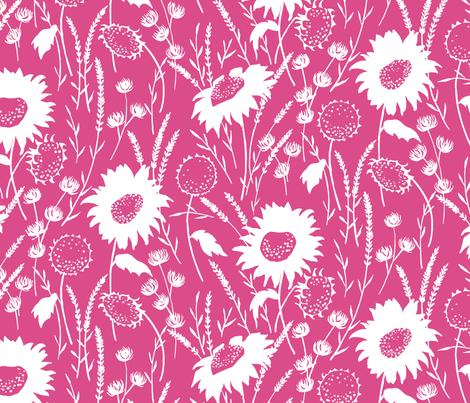 wildflowers - pink fabric by jillbyers on Spoonflower - custom fabric