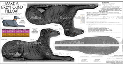 Black Brindle Greyhound fabric panel kit ©2011 by Jane Walker