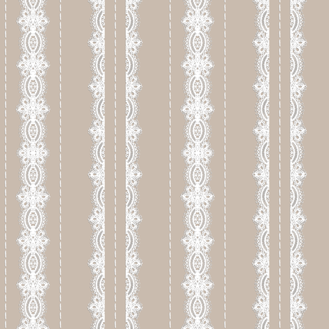 Lace and Stitching Stripes- Beige fabric by amazinart on Spoonflower - custom fabric