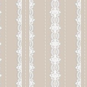 Lace and Stitching Stripes- Beige