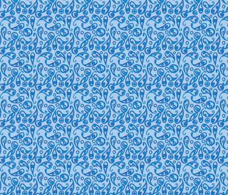 Blue Paisley pattern fabric by emily_caraballo on Spoonflower - custom fabric