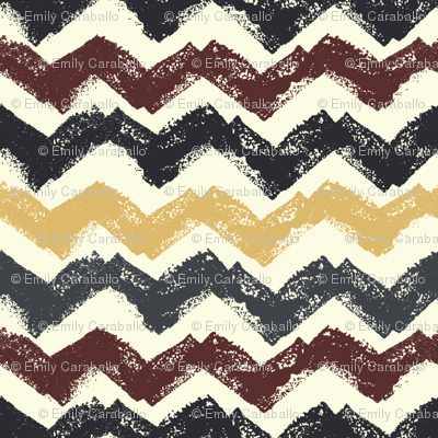 Chevron in Burgundy and Mustard