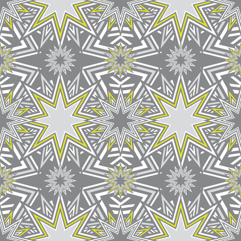 Stars_Mosaic_yellow fabric by vannina on Spoonflower - custom fabric