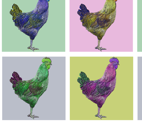 Chicken a la Warhol fabric by angel_mio on Spoonflower - custom fabric