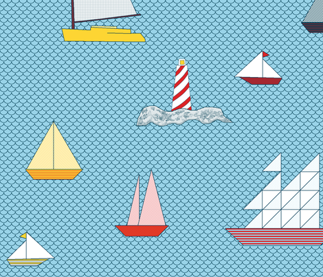 Sail_boats_and_light_house_colored_patterns fabric by khowardquilts on Spoonflower - custom fabric
