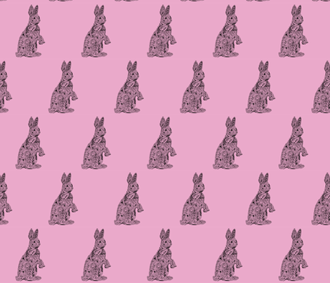 Rabbit_pink fabric by kanikamathur on Spoonflower - custom fabric