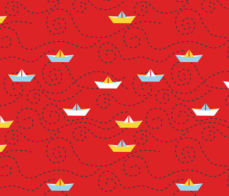 paper_s_boat__rouge_L fabric by nadja_petremand on Spoonflower - custom fabric