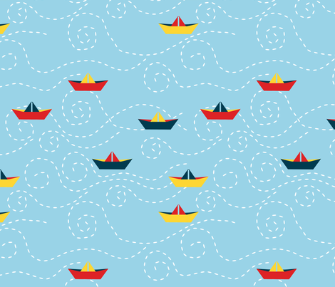 paper_s_boat__ciel_L fabric by nadja_petremand on Spoonflower - custom fabric