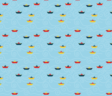 paper_s_boat__ciel_M fabric by nadja_petremand on Spoonflower - custom fabric