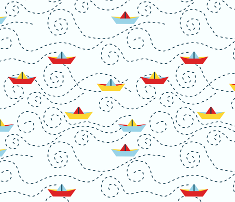 paper_s_boat__blanc_L fabric by nadja_petremand on Spoonflower - custom fabric