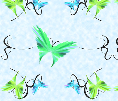 butterflies_blue fabric by bluewrendesigns on Spoonflower - custom fabric