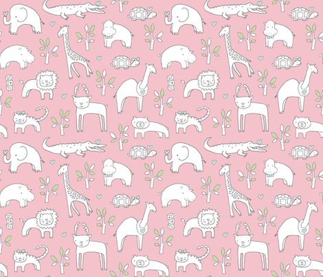 Safari Baby (perfect pink) fabric by pattyryboltdesigns on Spoonflower - custom fabric