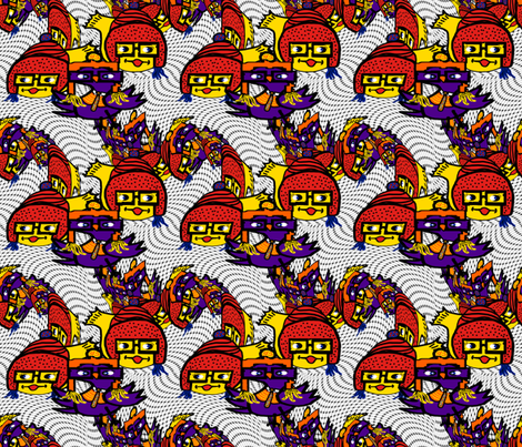 Geek Fish 'n' Chic(ks) Twirl fabric by anniedeb on Spoonflower - custom fabric