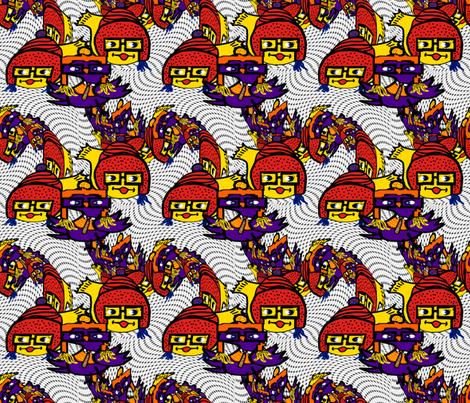 Geek Fish 'n' Chic(ks) Twirl fabric by anniedeb on Spoonflower - custom fabric