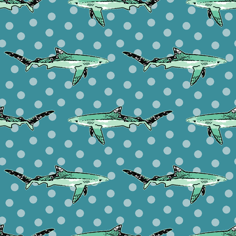 shark_teal fabric by littlerhodydesign on Spoonflower - custom fabric