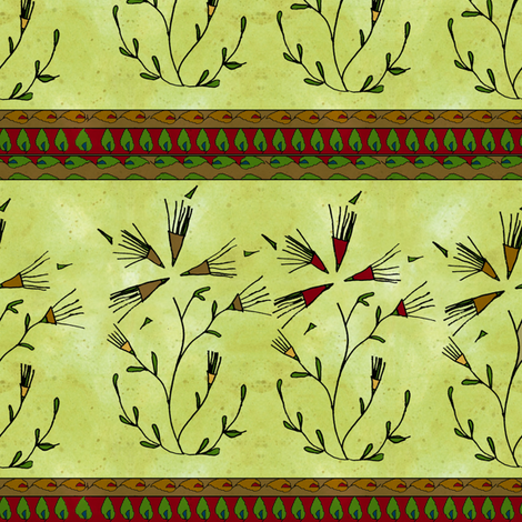 Gypsy Dandelions? with red fabric by joojoostrees on Spoonflower - custom fabric
