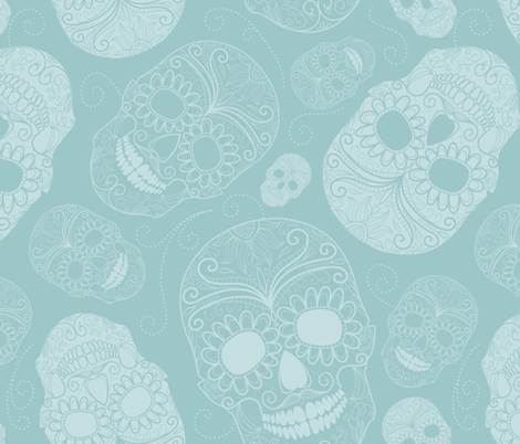 Blue Sugar Skulls fabric by peacefuldreams on Spoonflower - custom fabric