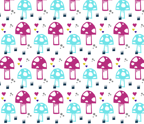 mushroomnewpink fabric by modern_day_magpie on Spoonflower - custom fabric