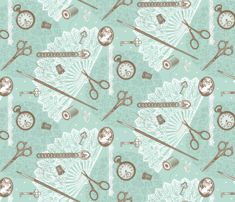 Jane Austen's Only Notions fabric by amazinart on Spoonflower - custom fabric