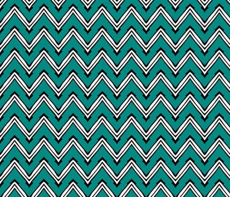 Teal and White Capped Chevron fabric by pond_ripple on Spoonflower - custom fabric