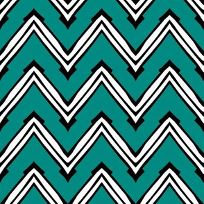 Teal and White Capped Chevron