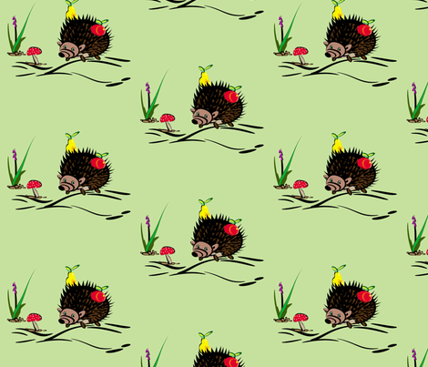 Hedgehog fabric by retroretro on Spoonflower - custom fabric