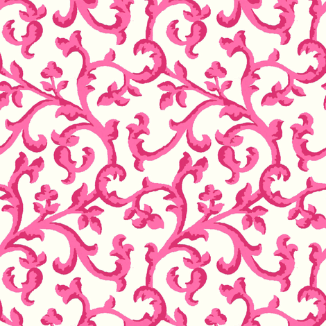 Hot_Pink_Scroll fabric by kelly_a on Spoonflower - custom fabric