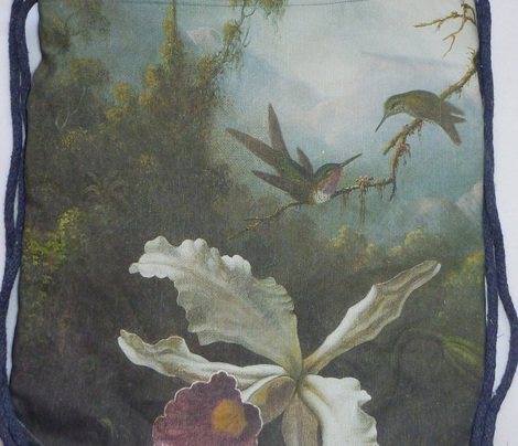 Two Hummingbirds Above a White Orchid: Heade