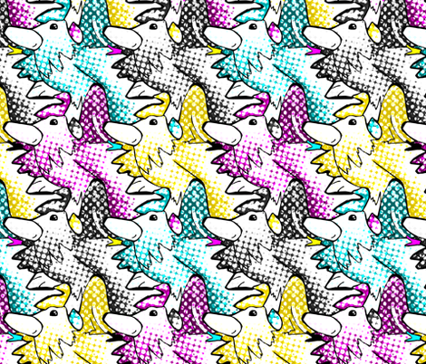CMYK Rooster Pop fabric by pond_ripple on Spoonflower - custom fabric