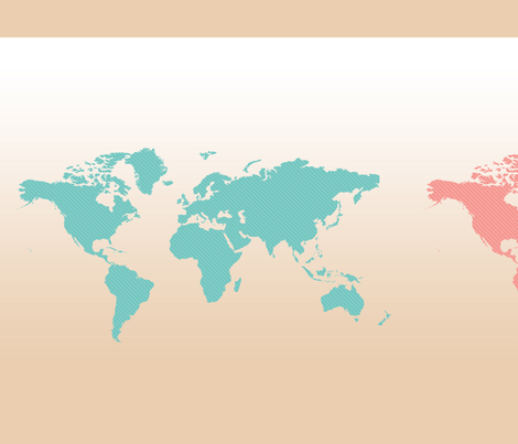 World Maps 3 ways - Teal, Coral, Brown fabric by thecumulusfactory on Spoonflower - custom fabric