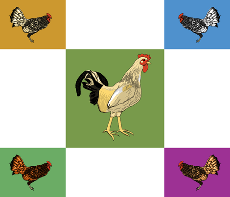 roosters_uneven_9_patch fabric by khowardquilts on Spoonflower - custom fabric