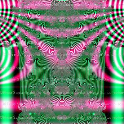 Fractal: Kimono In Pink And Green