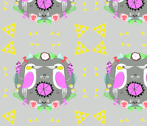 kookaburra Kiss -bright pink fabric by doopsdesigns on Spoonflower - custom fabric