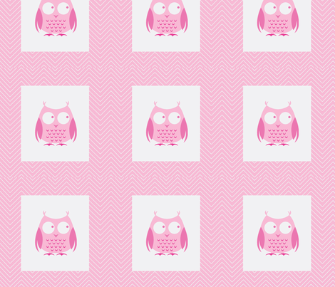 chevron_pink owl cheater quilt fabric by vos_designs on Spoonflower - custom fabric