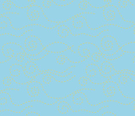 vague_pointillée_bleu_jaune_L fabric by nadja_petremand on Spoonflower - custom fabric
