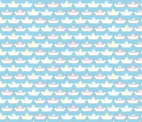 paper_boat_blanc_fond_ciel_M fabric by nadja_petremand on Spoonflower - custom fabric