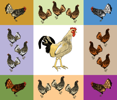 roosters_uneven_9_patch_B fabric by khowardquilts on Spoonflower - custom fabric