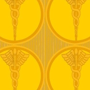 Golden Medical Symbol  Caduceus with Stripes