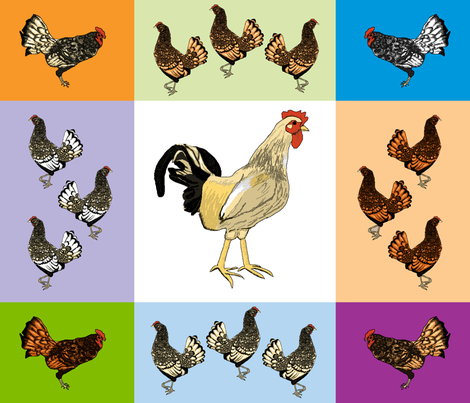 roosters_uneven_9_patch_F fabric by khowardquilts on Spoonflower - custom fabric