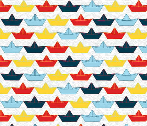 paper_boat_color_fond_blanc_L fabric by nadja_petremand on Spoonflower - custom fabric