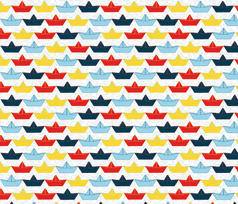 paper_boat_color_fond_blanc_M fabric by nadja_petremand on Spoonflower - custom fabric